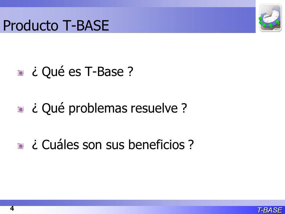 T-BASE 4 Producto T-BASE ¿ Qué es T-Base ¿ Qué problemas resuelve ¿ Cuáles son sus beneficios