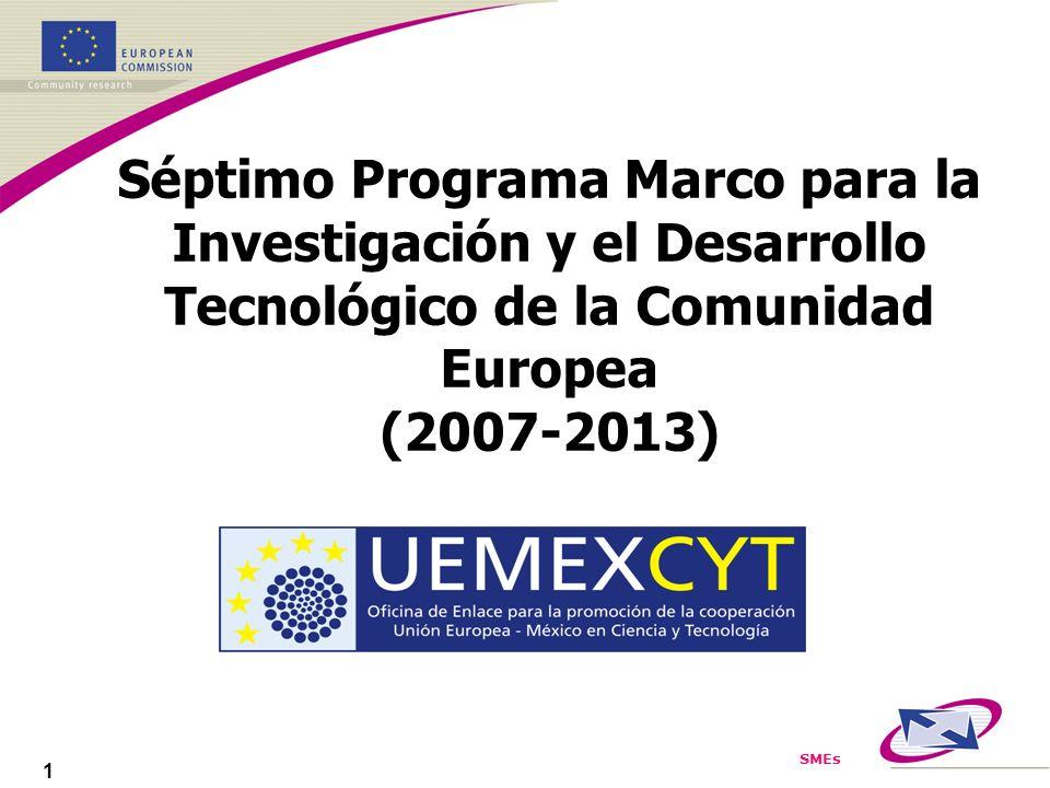 SMEs 1 Séptimo Programa Marco para la Investigación y el Desarrollo Tecnológico de la Comunidad Europea (2007-2013)