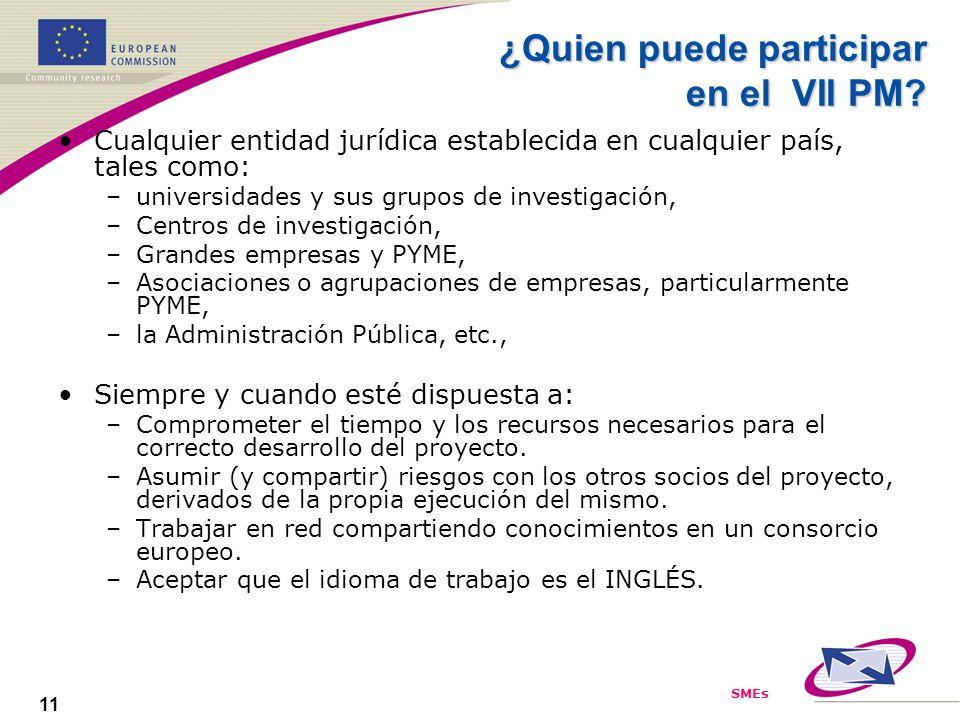 SMEs 11 ¿Quien puede participar en el VII PM? Cualquier entidad jurídica establecida en cualquier país, tales como: –universidades y sus grupos de inv