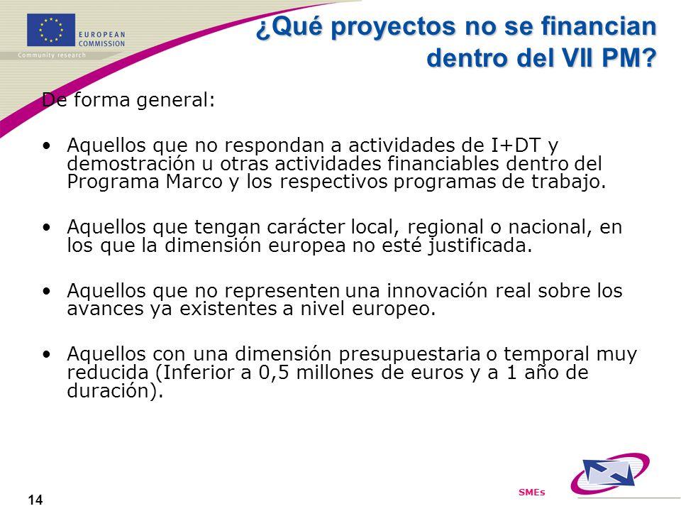 SMEs 14 ¿Qué proyectos no se financian dentro del VII PM? De forma general: Aquellos que no respondan a actividades de I+DT y demostración u otras act