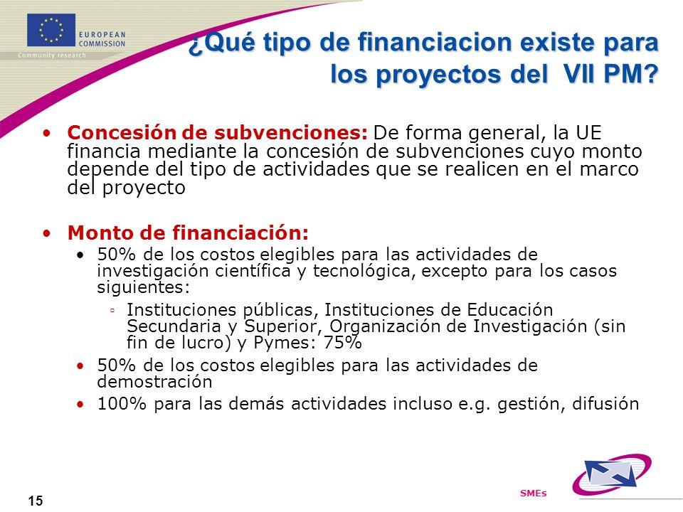 SMEs 15 ¿Qué tipo de financiacion existe para los proyectos del VII PM? Concesión de subvenciones: De forma general, la UE financia mediante la conces