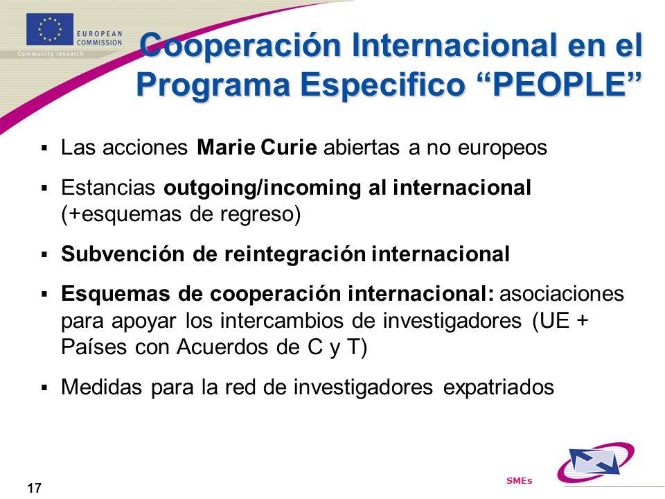 SMEs 17 Cooperación Internacional en el Programa Especifico PEOPLE Las acciones Marie Curie abiertas a no europeos Estancias outgoing/incoming al inte