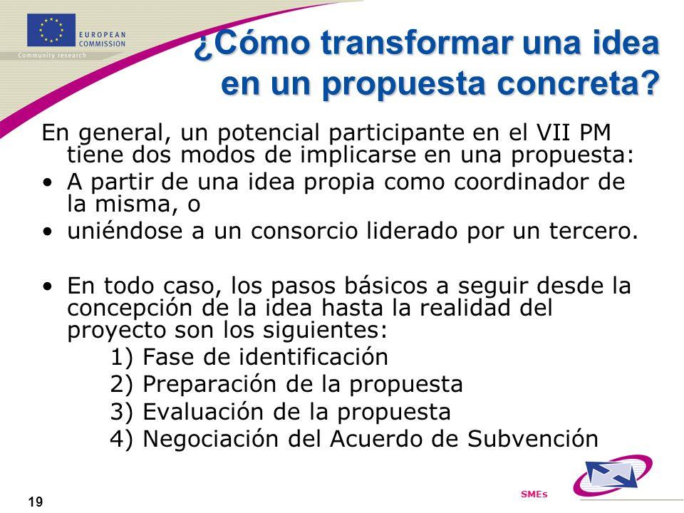 SMEs 19 ¿Cómo transformar una idea en un propuesta concreta? En general, un potencial participante en el VII PM tiene dos modos de implicarse en una p