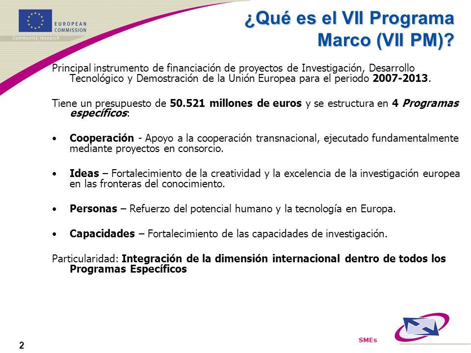 SMEs 2 ¿Qué es el VII Programa Marco (VII PM)? Principal instrumento de financiación de proyectos de Investigación, Desarrollo Tecnológico y Demostrac