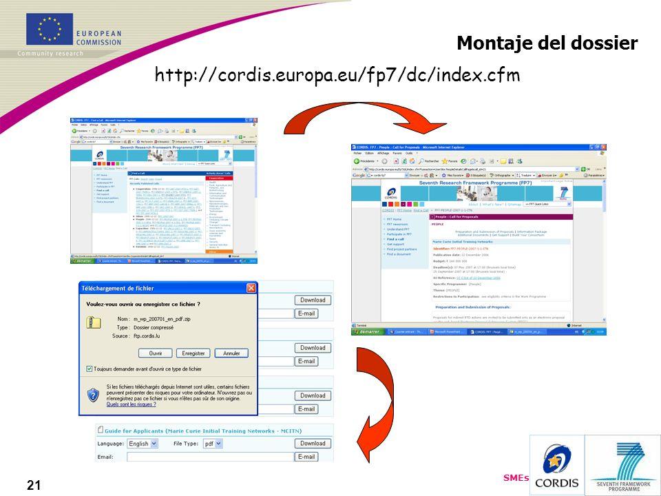 SMEs 21 Montaje del dossier http://cordis.europa.eu/fp7/dc/index.cfm