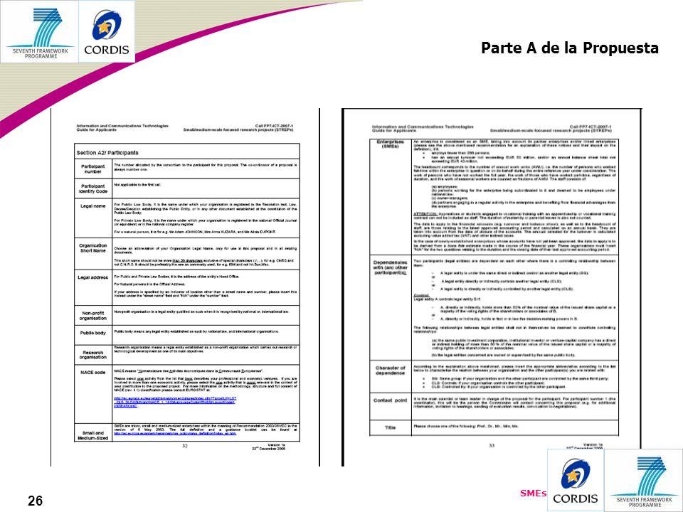 SMEs 26 Parte A de la Propuesta