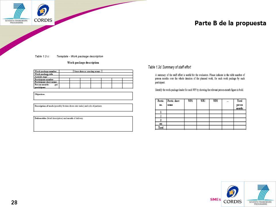 SMEs 28 Parte B de la propuesta