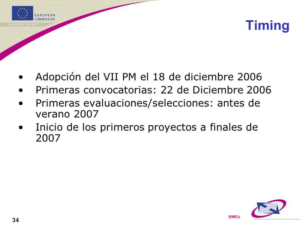 SMEs 34 Timing Adopción del VII PM el 18 de diciembre 2006 Primeras convocatorias: 22 de Diciembre 2006 Primeras evaluaciones/selecciones: antes de verano 2007 Inicio de los primeros proyectos a finales de 2007