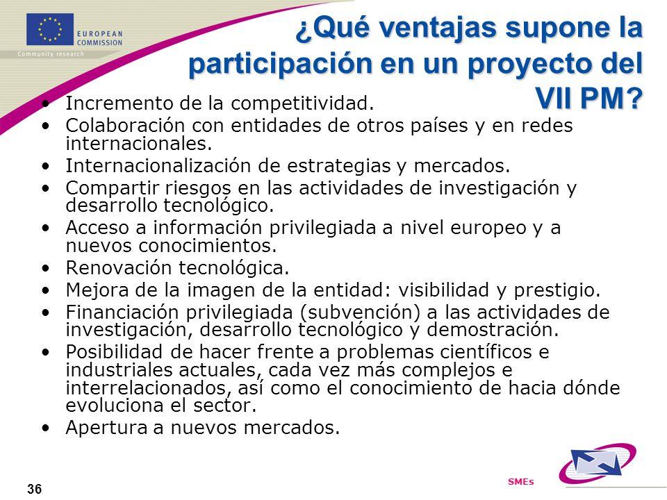 SMEs 36 ¿Qué ventajas supone la participación en un proyecto del VII PM? Incremento de la competitividad. Colaboración con entidades de otros países y