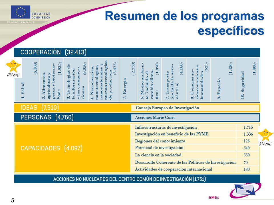 SMEs 5 Resumen de los programas específicos
