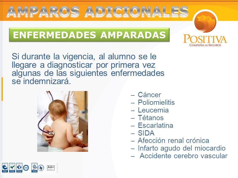 ENFERMEDADES AMPARADAS Si durante la vigencia, al alumno se le llegare a diagnosticar por primera vez algunas de las siguientes enfermedades se indemnizará.