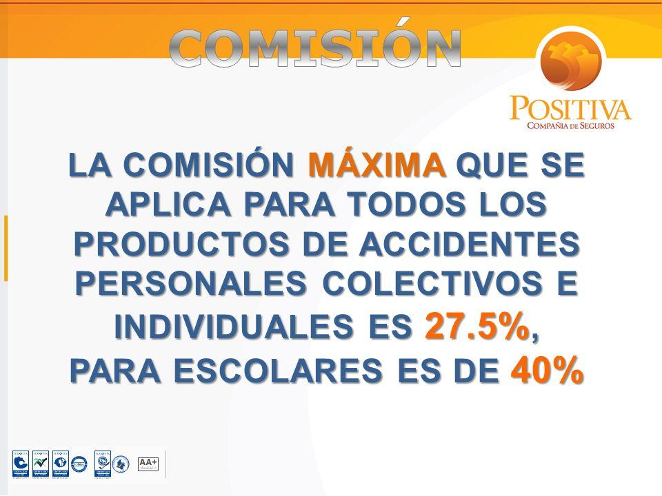LA COMISIÓN MÁXIMA QUE SE APLICA PARA TODOS LOS PRODUCTOS DE ACCIDENTES PERSONALES COLECTIVOS E INDIVIDUALES ES 27.5%, PARA ESCOLARES ES DE 40%