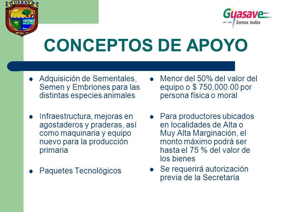 CONCEPTOS DE APOYO Adquisición de Sementales, Semen y Embriones para las distintas especies animales Infraestructura, mejoras en agostaderos y pradera