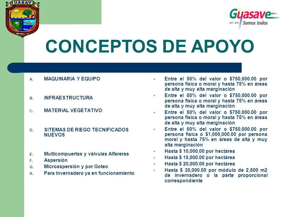 A. MAQUINARIA Y EQUIPO B. INFRAESTRUCTURA C. MATERIAL VEGETATIVO D. SITEMAS DE RIEGO TECNIFICADOS NUEVOS E. Multicompuertas y válvulas Alfareras F. As