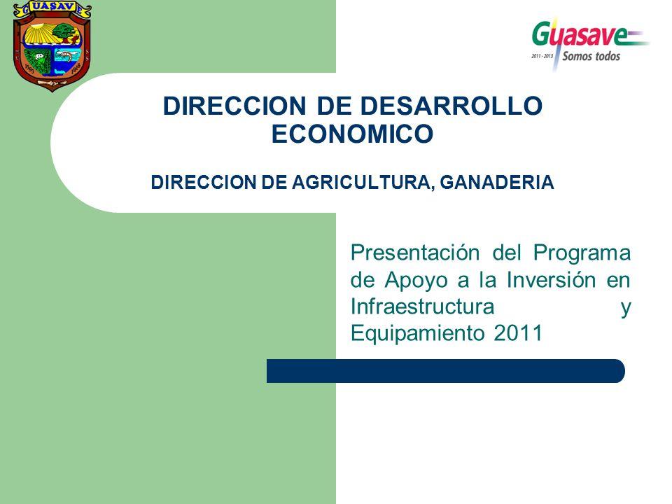 DIRECCION DE DESARROLLO ECONOMICO DIRECCION DE AGRICULTURA, GANADERIA Presentación del Programa de Apoyo a la Inversión en Infraestructura y Equipamiento 2011