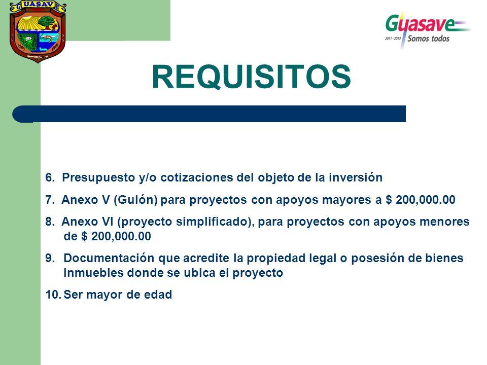 REQUISITOS 6. Presupuesto y/o cotizaciones del objeto de la inversión 7. Anexo V (Guión) para proyectos con apoyos mayores a $ 200,000.00 8. Anexo VI