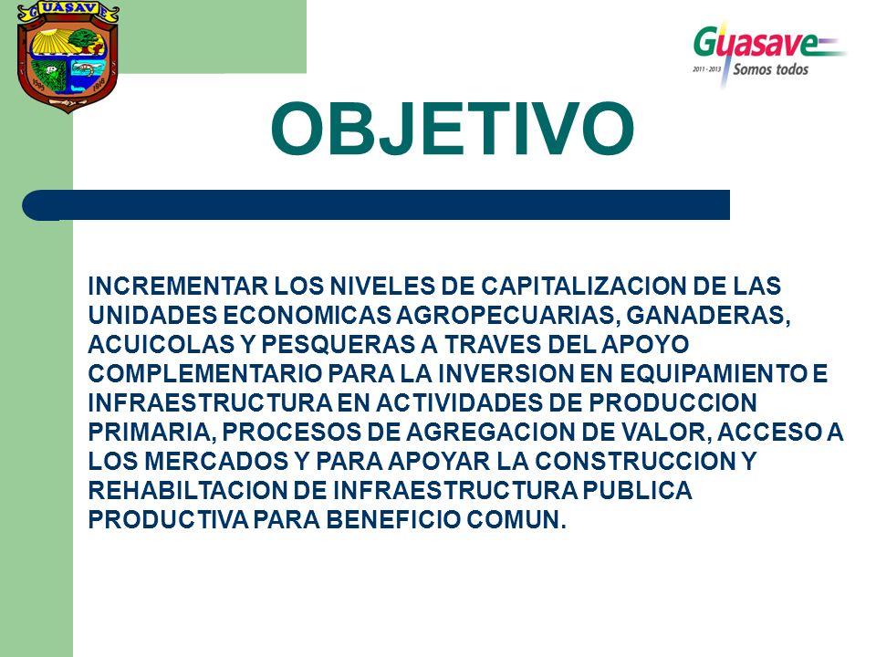 OBJETIVO INCREMENTAR LOS NIVELES DE CAPITALIZACION DE LAS UNIDADES ECONOMICAS AGROPECUARIAS, GANADERAS, ACUICOLAS Y PESQUERAS A TRAVES DEL APOYO COMPLEMENTARIO PARA LA INVERSION EN EQUIPAMIENTO E INFRAESTRUCTURA EN ACTIVIDADES DE PRODUCCION PRIMARIA, PROCESOS DE AGREGACION DE VALOR, ACCESO A LOS MERCADOS Y PARA APOYAR LA CONSTRUCCION Y REHABILTACION DE INFRAESTRUCTURA PUBLICA PRODUCTIVA PARA BENEFICIO COMUN.