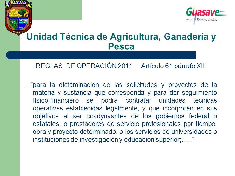Unidad Técnica de Agricultura, Ganadería y Pesca REGLAS DE OPERACIÓN 2011 Artículo 61 párrafo XII …para la dictaminación de las solicitudes y proyecto