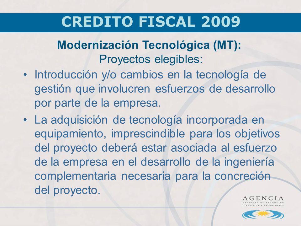 CREDITO FISCAL 2009 Introducción y/o cambios en la tecnología de gestión que involucren esfuerzos de desarrollo por parte de la empresa.