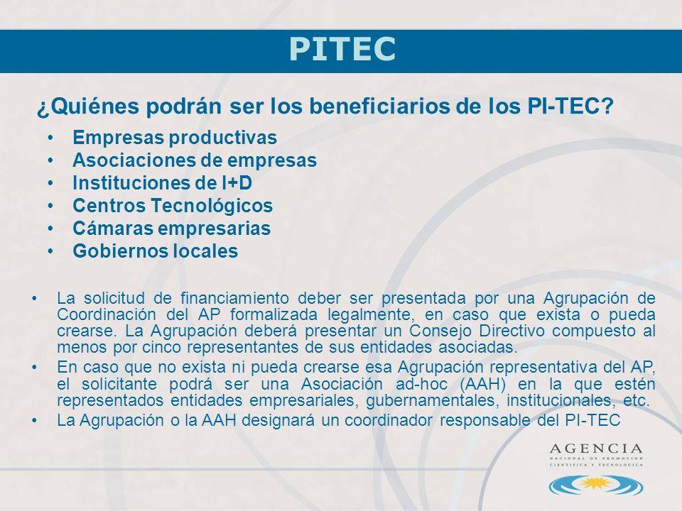 ¿Quiénes podrán ser los beneficiarios de los PI-TEC.
