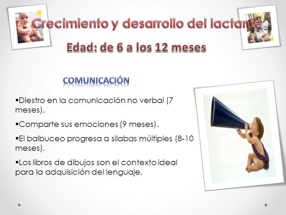 Diestro en la comunicación no verbal (7 meses). Comparte sus emociones (9 meses). El balbuceo progresa a silabas múltiples (8-10 meses). Los libros de