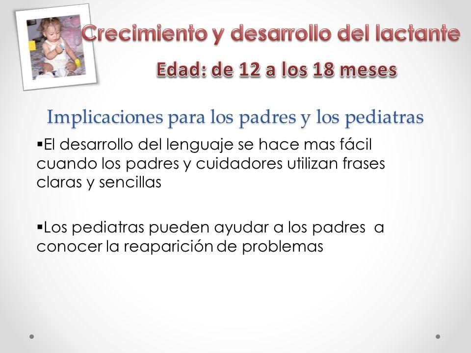 Implicaciones para los padres y los pediatras El desarrollo del lenguaje se hace mas fácil cuando los padres y cuidadores utilizan frases claras y sencillas Los pediatras pueden ayudar a los padres a conocer la reaparición de problemas