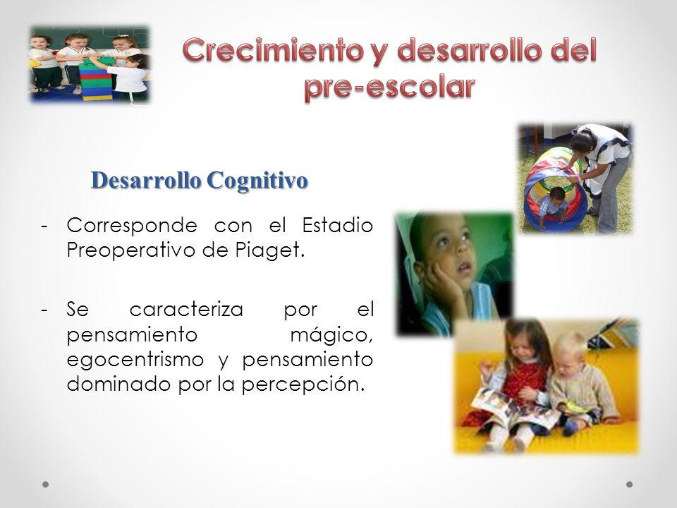 -Corresponde con el Estadio Preoperativo de Piaget. -Se caracteriza por el pensamiento mágico, egocentrismo y pensamiento dominado por la percepción.