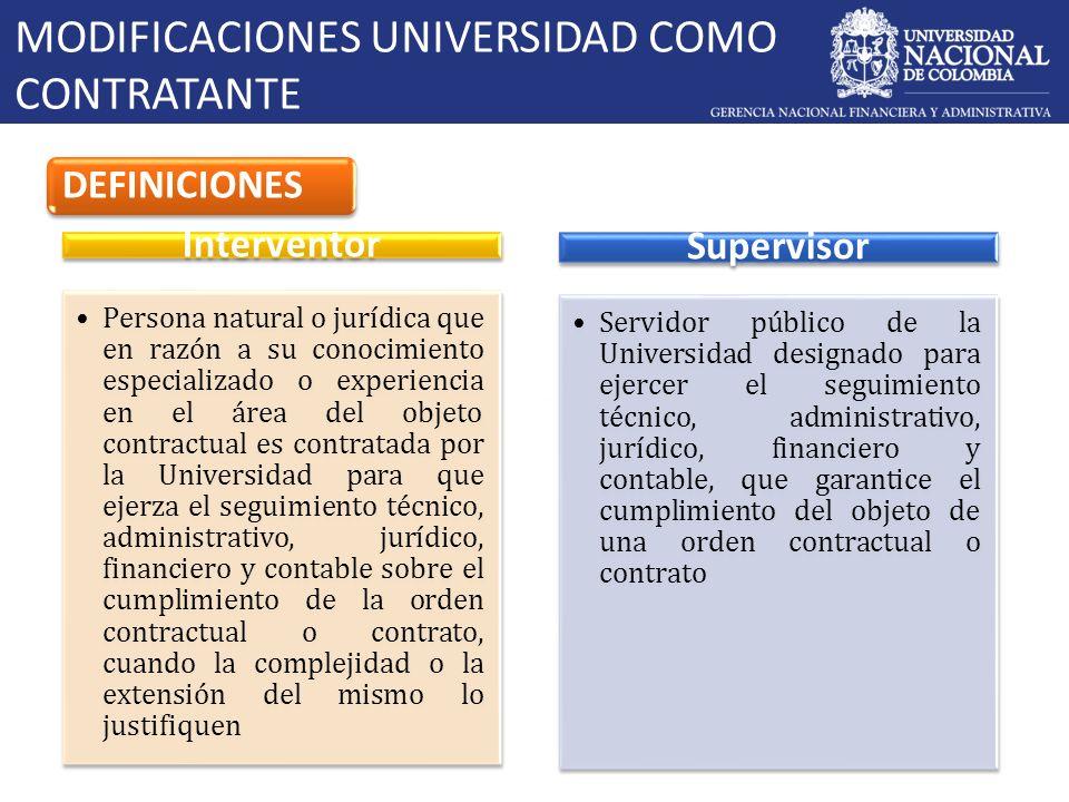 MODIFICACIONES UNIVERSIDAD COMO CONTRATANTE DEFINICIONES Interventor Persona natural o jurídica que en razón a su conocimiento especializado o experie