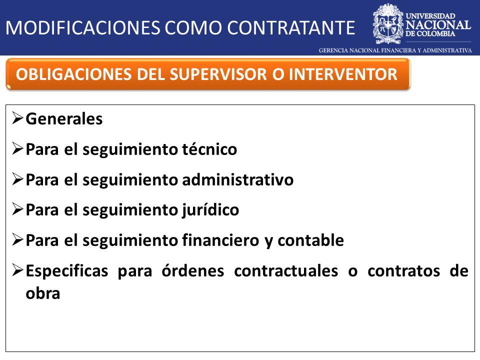 MODIFICACIONES COMO CONTRATANTE OBLIGACIONES DEL SUPERVISOR O INTERVENTOR Generales Para el seguimiento técnico Para el seguimiento administrativo Par