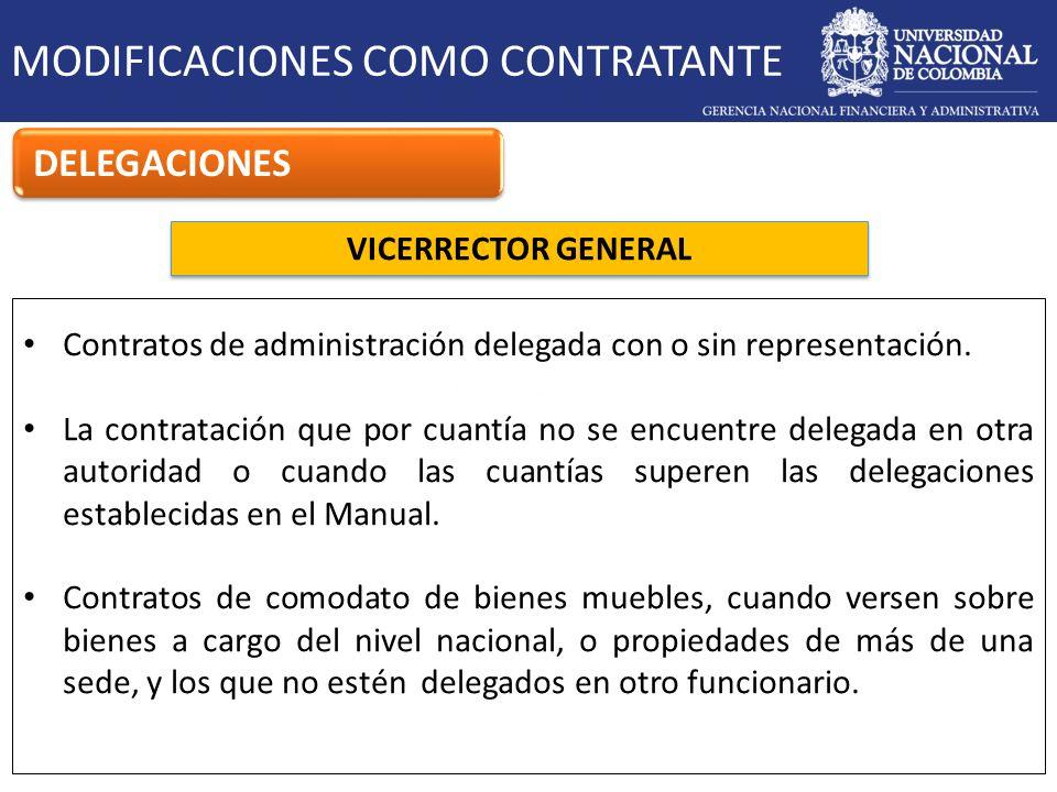 VICERRECTOR GENERAL MODIFICACIONES COMO CONTRATANTE DELEGACIONES Contratos de administración delegada con o sin representación. La contratación que po