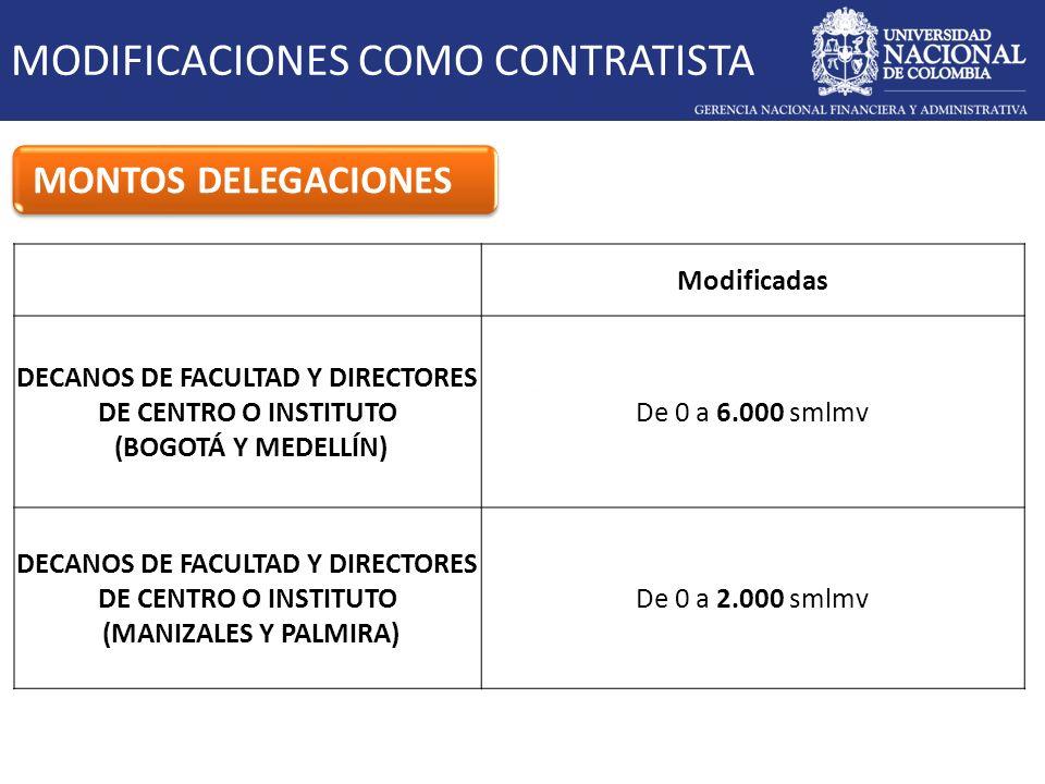 MODIFICACIONES COMO CONTRATISTA MONTOS DELEGACIONES Modificadas DECANOS DE FACULTAD Y DIRECTORES DE CENTRO O INSTITUTO (BOGOTÁ Y MEDELLÍN) De 0 a 6.00