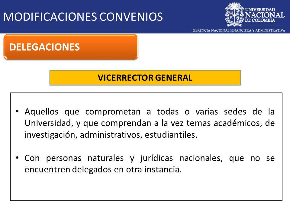 VICERRECTOR GENERAL MODIFICACIONES CONVENIOS DELEGACIONES Aquellos que comprometan a todas o varias sedes de la Universidad, y que comprendan a la vez