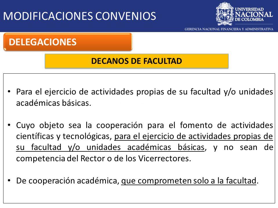 DECANOS DE FACULTAD MODIFICACIONES CONVENIOS DELEGACIONES Para el ejercicio de actividades propias de su facultad y/o unidades académicas básicas. Cuy