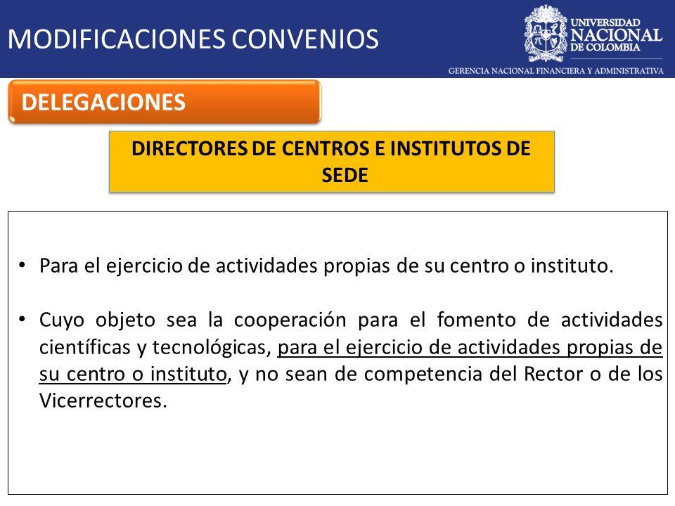DIRECTORES DE CENTROS E INSTITUTOS DE SEDE MODIFICACIONES CONVENIOS DELEGACIONES Para el ejercicio de actividades propias de su centro o instituto. Cu