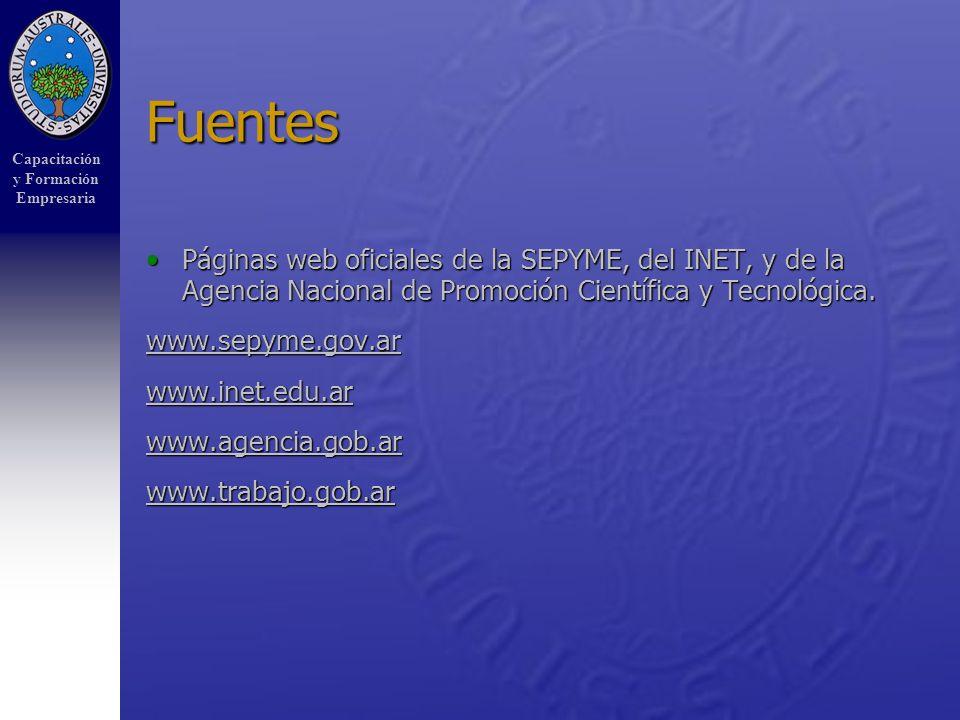 Capacitación y Formación Empresaria Fuentes Páginas web oficiales de la SEPYME, del INET, y de la Agencia Nacional de Promoción Científica y Tecnológica.Páginas web oficiales de la SEPYME, del INET, y de la Agencia Nacional de Promoción Científica y Tecnológica.
