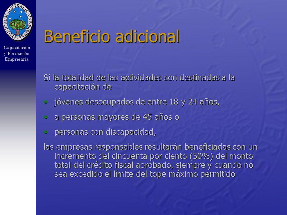 Capacitación y Formación Empresaria Beneficio adicional Si la totalidad de las actividades son destinadas a la capacitación de jóvenes desocupados de entre 18 y 24 años,jóvenes desocupados de entre 18 y 24 años, a personas mayores de 45 años oa personas mayores de 45 años o personas con discapacidad,personas con discapacidad, las empresas responsables resultarán beneficiadas con un incremento del cincuenta por ciento (50%) del monto total del crédito fiscal aprobado, siempre y cuando no sea excedido el límite del tope máximo permitido