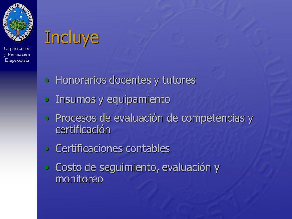 Capacitación y Formación Empresaria Incluye Honorarios docentes y tutoresHonorarios docentes y tutores Insumos y equipamientoInsumos y equipamiento Procesos de evaluación de competencias y certificaciónProcesos de evaluación de competencias y certificación Certificaciones contablesCertificaciones contables Costo de seguimiento, evaluación y monitoreoCosto de seguimiento, evaluación y monitoreo