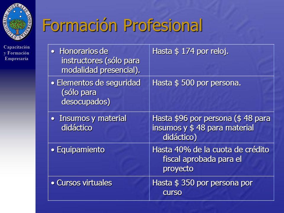 Capacitación y Formación Empresaria Formación Profesional Honorarios de instructores (sólo para modalidad presencial).