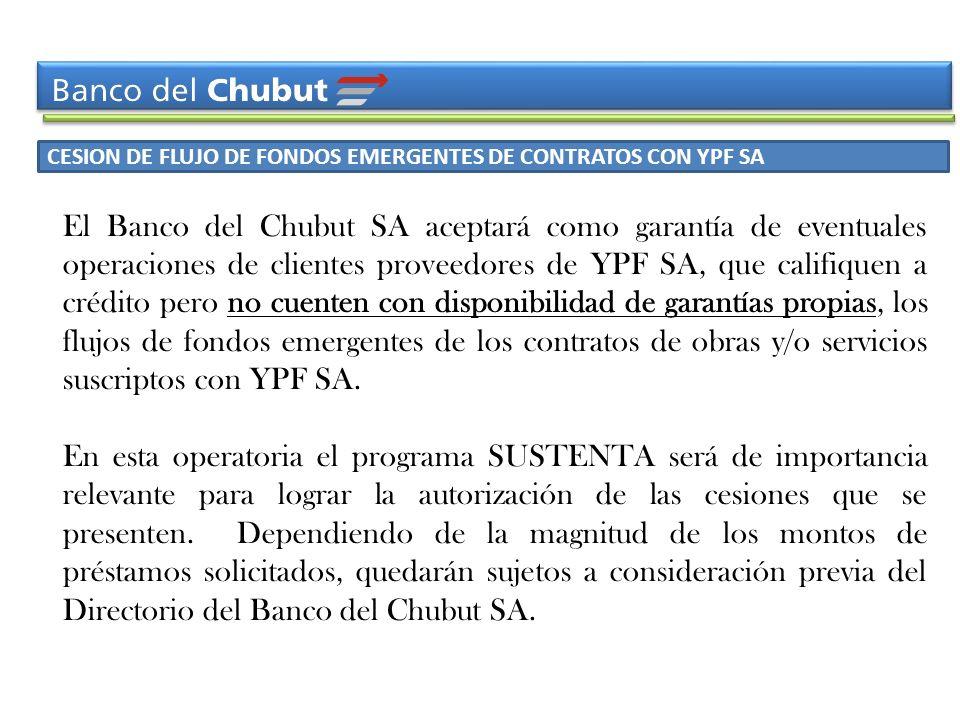 CESION DE FLUJO DE FONDOS EMERGENTES DE CONTRATOS CON YPF SA El Banco del Chubut SA aceptará como garantía de eventuales operaciones de clientes prove