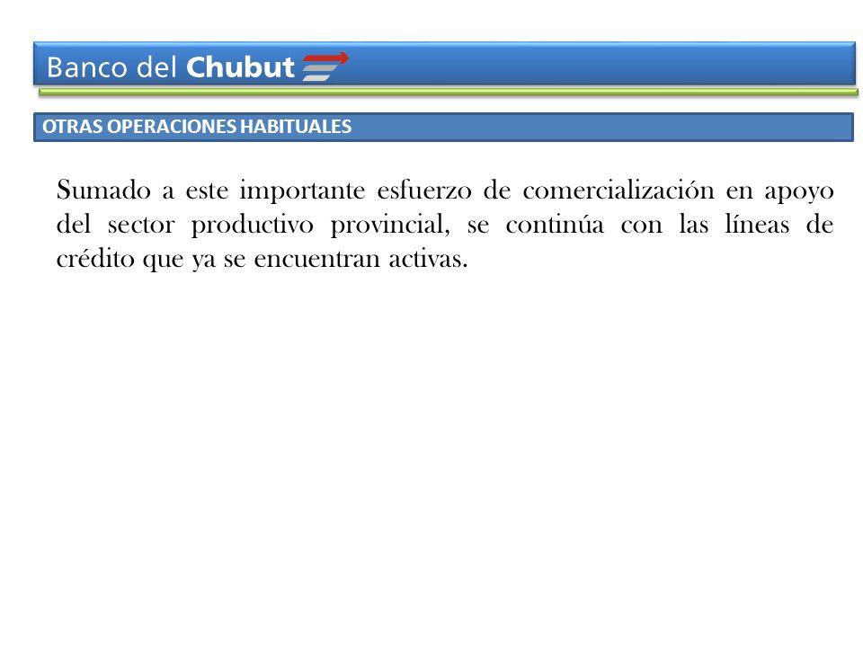 OTRAS OPERACIONES HABITUALES Sumado a este importante esfuerzo de comercialización en apoyo del sector productivo provincial, se continúa con las líne