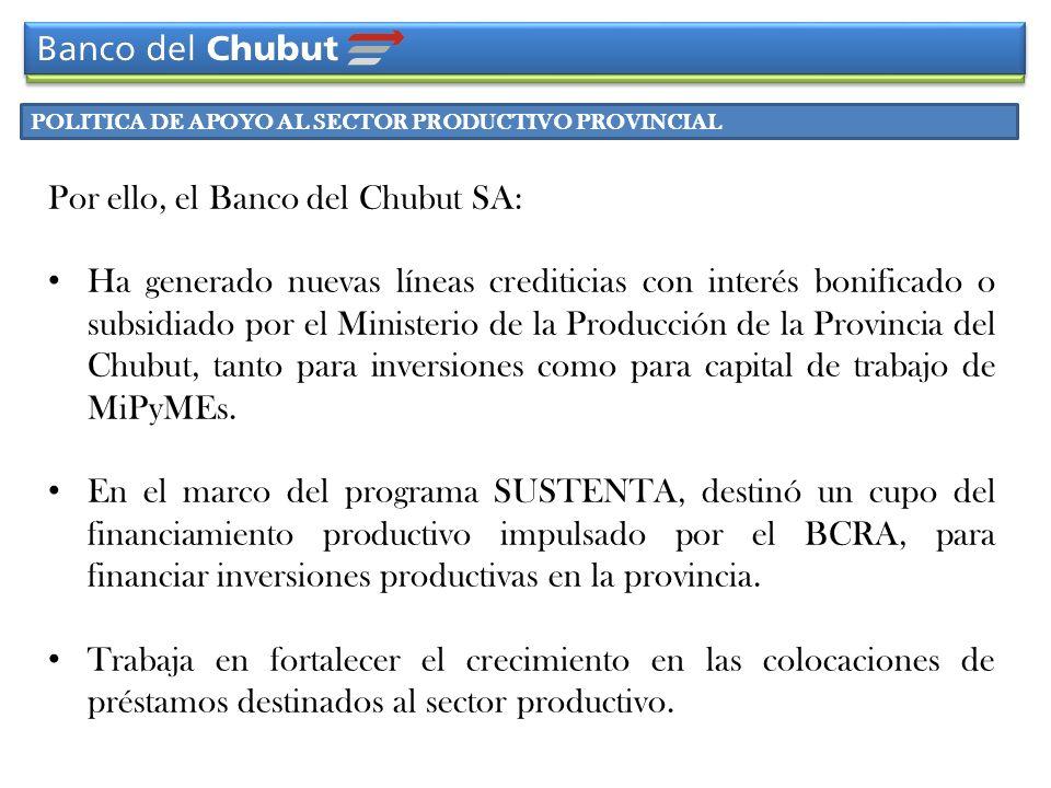POLITICA DE APOYO AL SECTOR PRODUCTIVO PROVINCIAL Por ello, el Banco del Chubut SA: Ha generado nuevas líneas crediticias con interés bonificado o sub