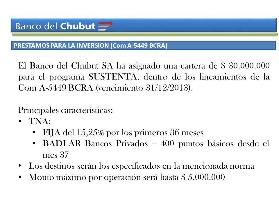 PRESTAMOS PARA LA INVERSION (Com A-5449 BCRA) El Banco del Chubut SA ha asignado una cartera de $ 30.000.000 para el programa SUSTENTA, dentro de los