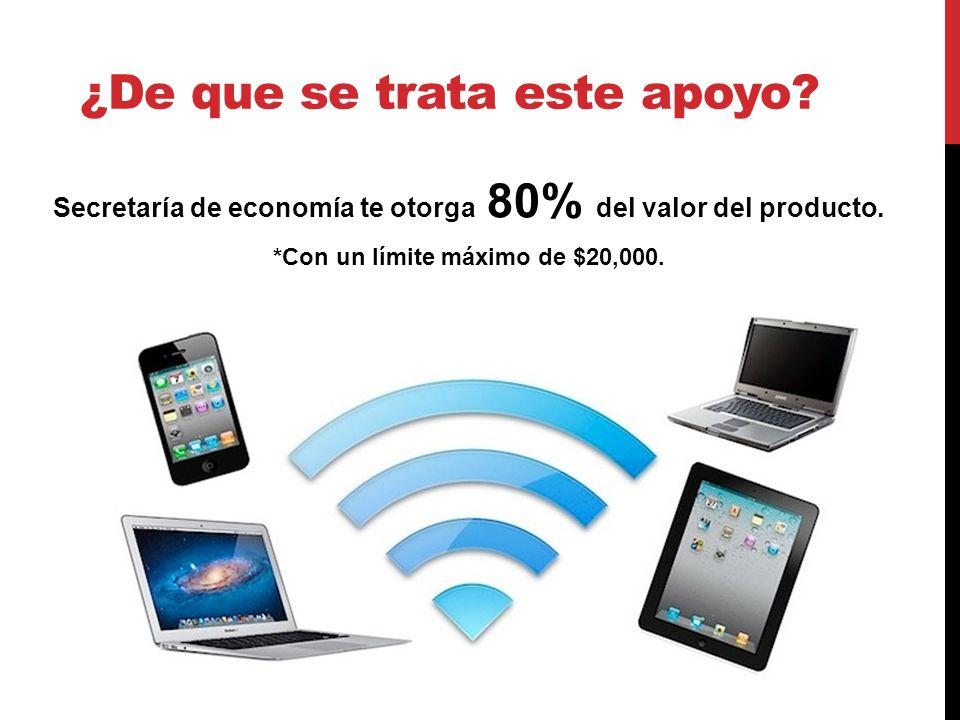¿De que se trata este apoyo. Secretaría de economía te otorga 80% del valor del producto.