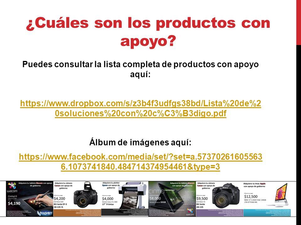 Puedes consultar la lista completa de productos con apoyo aquí: https://www.dropbox.com/s/z3b4f3udfgs38bd/Lista%20de%2 0soluciones%20con%20c%C3%B3digo.pdf Álbum de imágenes aquí: https://www.facebook.com/media/set/ set=a.57370261605563 6.1073741840.484714374954461&type=3