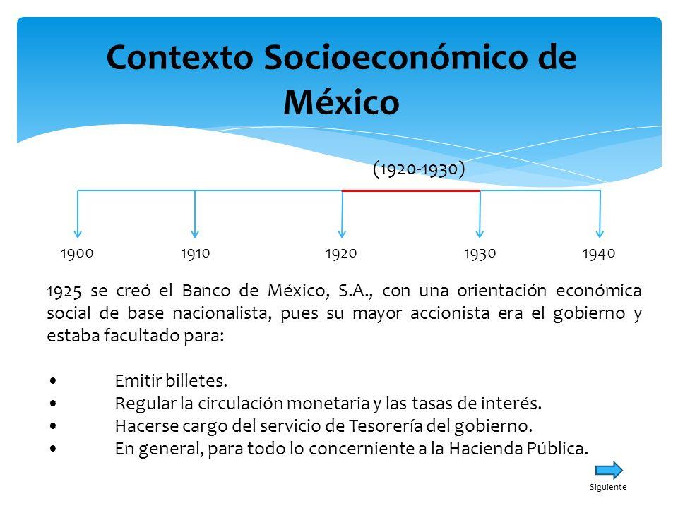 Contexto Socioeconómico de México 19001940191019301920 (1920-1930) 1925 se creó el Banco de México, S.A., con una orientación económica social de base