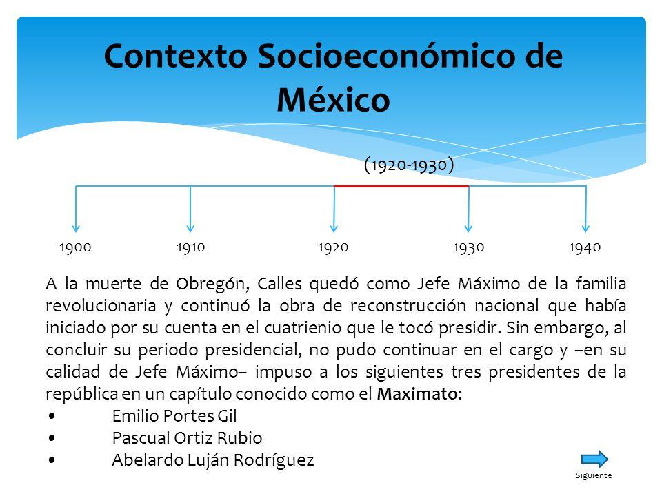 Contexto Socioeconómico de México 19001940191019301920 (1920-1930) A la muerte de Obregón, Calles quedó como Jefe Máximo de la familia revolucionaria