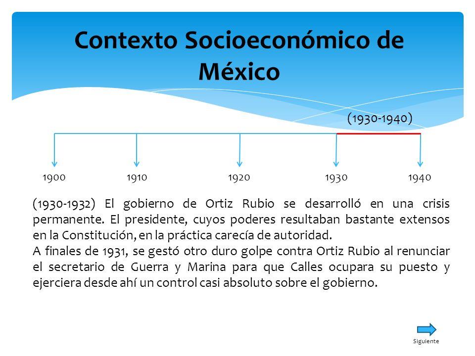Contexto Socioeconómico de México 19001940191019301920 (1930-1940) Calles no apoyaba ya a Ortiz Rubio, provocando que, en septiembre de 1932, el presidente diera a conocer su renuncia alegando desavenencias entre el ejecutivo y los demás órganos políticos, así como por su quebrantada salud.