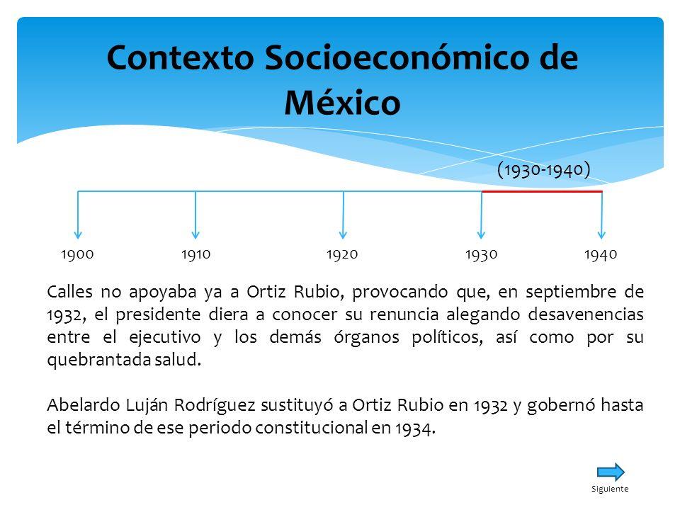 Contexto Socioeconómico de México 19001940191019301920 (1930-1940) Calles no apoyaba ya a Ortiz Rubio, provocando que, en septiembre de 1932, el presi