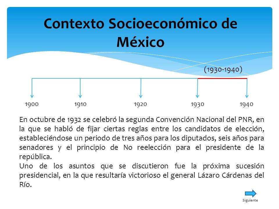 Contexto Socioeconómico de México 19001940191019301920 (1930-1940) En octubre de 1932 se celebró la segunda Convención Nacional del PNR, en la que se