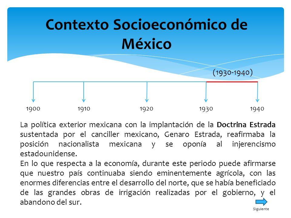Contexto Socioeconómico de México 19001940191019301920 (1930-1940) La política exterior mexicana con la implantación de la Doctrina Estrada sustentada